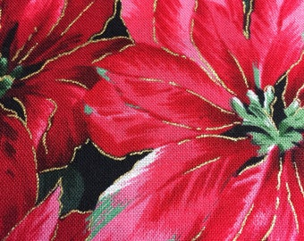 Red Poinsettia Christmas Fabric