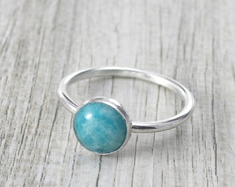 Amazonite Gemstone Ring, 8 mm Amazonite Round Gemstone