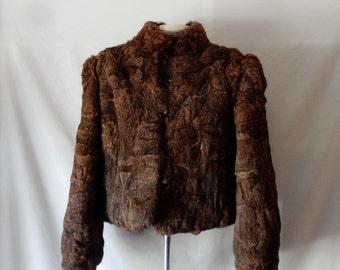Sz 8 10 M High Neck Collar Fur Jacket Coat -  Rabbit - Size Medium - 80s Vintage - Winter Warm
