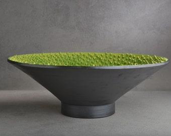 "Spiky Bowl Ready To Ship Venus Dangerously Spiky Wheel Thrown 15"" Bowl by Symmetrical Pottery"
