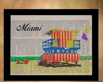 SALE -- Miami Beach Dictionary Art Print, Florida Poster Wall Art Lifeguard Stand Home Decor Gift Ideas da1298