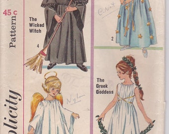 1970's Sewing Pattern - Simplicity 6201 Children's Wicked Witch, Good Fairy, Greek Goddess, Little Angel, Size 12-14 Cut Complete