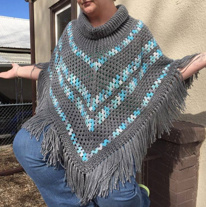 Ribbed Cowl Neck Poncho Crochet Pattern