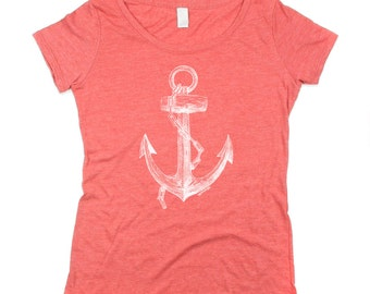 Red Anchor Shirt - Red Scoop Neck - Women Red Shirt -  Eco Triblend - Pirates - Ocean - Small, Medium, Large, Xl, 2X
