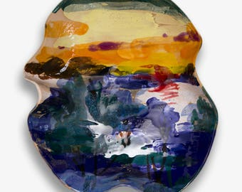 Ceramic bowl, landscape fruit bowl, pottery bowl, sunset, serving bowl, wedding gift