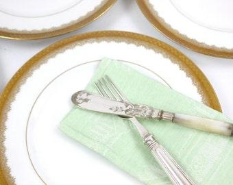 French Dinner Plates, SET of 4, Ornate Gold Filigree Verge Plates, Limoges France Plates, Charles Martin, c1890s, Vintage China Plates