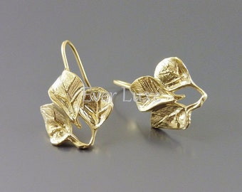 2 leaf hook earrings, matte gold brass earring findings, earring components for earring making E1240-MG (2 pieces)