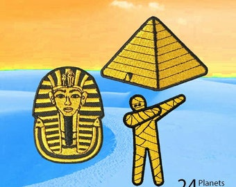 Ancient Egypt Golden Pharaoh Pyramid Mummy DAB Iron on Patch by 24PlanetsStudio Egyptian Sphinx