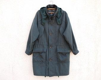 Vintage Green Blue PARKA Jacket Men's Greenish Parka Men's  BUGATTI Men's Coat Vintage 90s Drawstring Parka Minimal Soft Large Size