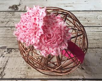 Pink Headband, Newborn Headband, Flower Headband, Baby Girl Headband, Baby Shower Gift, Headband Photo Prop, New Mom Gift, Floral Headband