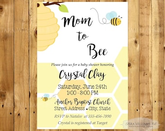 Bee Baby Shower Invitation - Yellow - Bumble Bee - Honeycomb - Yellow and Black - New Baby - Printable - Custom - You Print - Baby