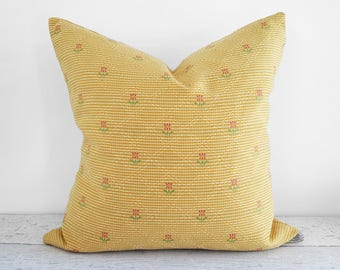 French Country Pillows, 20x20 Pillow Cover, Cottage Pillow, Yellow Pillow, Vintage Pillow, Farmhouse Pillow, Yellow Pink Green, 16x16, 18x18
