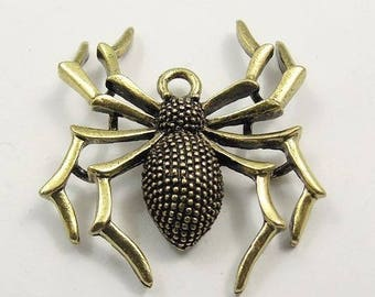 6 metal spider charms antique gold bronze size 35 * 32 * 7 mm