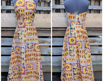 Vintage 1970s yellow, brown and white high neck halter maxi summer sundress dress