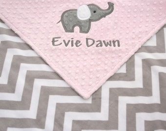 Personalized Baby Blanket with Elephant Applique - Light Pink Minky with Gray and White Chevron Mink Blanket