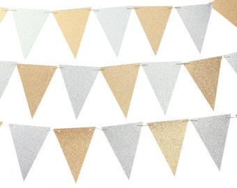 Silver and Gold Triangle Flag Banner / Silver and Gold Pennant Banner / Silver and Gold Bunting / Silver and Gold Party / Metallic Party
