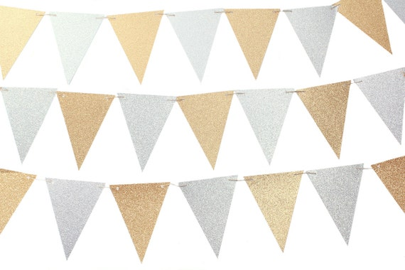 Popular Silver and Gold Triangle Flag Banner / Silver and Gold Pennant UV48