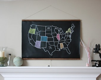 Chalkboard United States Map -- LARGE SIZE // USA Map // Classroom Decor // Homeschool Teacher // Adventure Map // Travel // Farmhouse