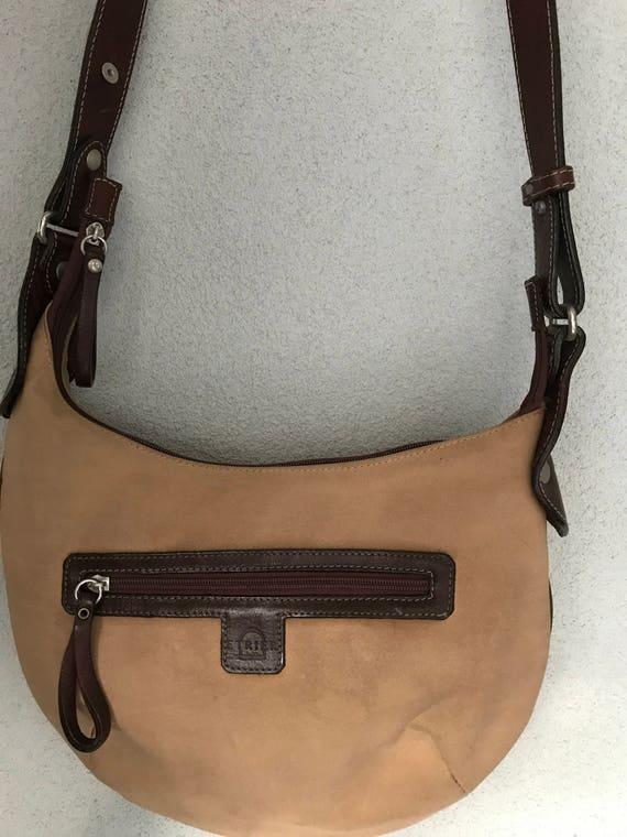 Vintage Etrier lightbrown fabric with darkbrown leather crossover shoulder bag