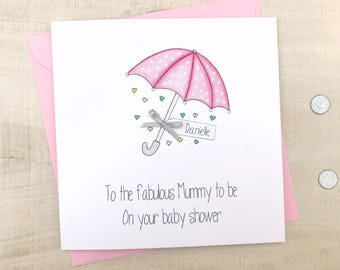 Baby shower card etsy personalised baby shower card handmade personalised baby shower cards pink baby shower card m4hsunfo