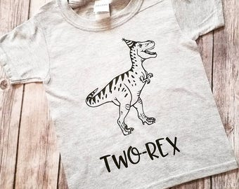 TWO-Rex Toddler/Youth Dinosaur Birthday Shirt