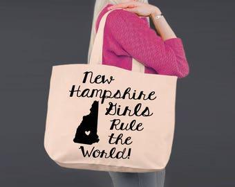 New Hampshire   Bridesmaid Tote   Tote Bag   Canvas Tote Bag   Beach Tote   Canvas Tote   Shopping Tote   Shopping Bag   Korena Loves