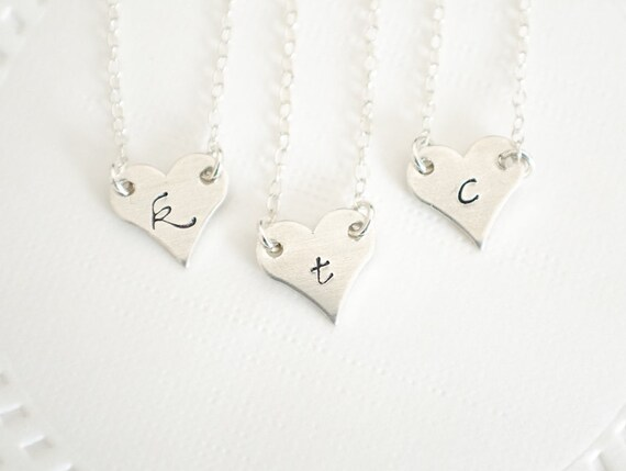 Set of 3 Bridesmaids Necklaces | Tiny Heart Necklace | Personalization Monogram | Dainty Best Friend Jewelry | All Sterling Silver