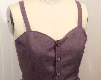 Linen dress / button front / summer dress / linen summer dress / made to measure