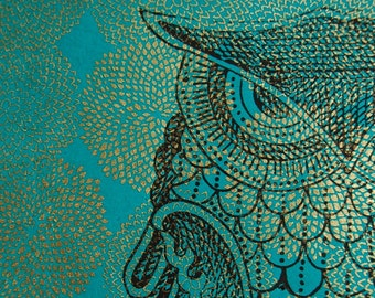 Owl print on teal with gold mums 11 x 14 poster