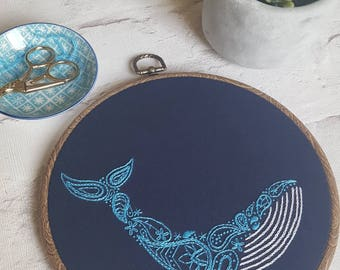 Hand Embroidered Blue Whale - Paisley / Henna Pattern - 8 inch hoop - Wall Art - Home Decor - Contemporary & Modern Embroidery