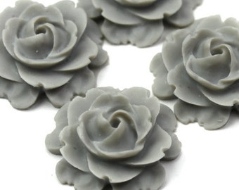 Plastic Flower Cabochons Matte Cool Gray 23mm (2) PC273