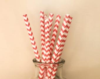 Paper Straws / Coral Straws / Coral Chevron Straws / Chevron Straws / Party Straws / Coral Party Decor