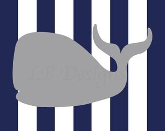 Nautical Nursery Art, Navy Blue and Gray Nursery, Whale Nursery Print, Nautical Nursery Decor - 8x10