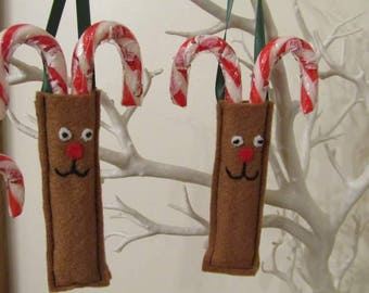 Reindeer candy cane holder, Rudolph candy cane holder, Christmas tree decoration, Children's decoration, Hanging candy cane holder, Reindeer