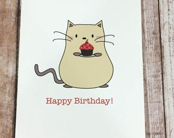 Peanut Cat Collection - Yellow Cat with Cupcake Happy Birthday A2 Folded Card