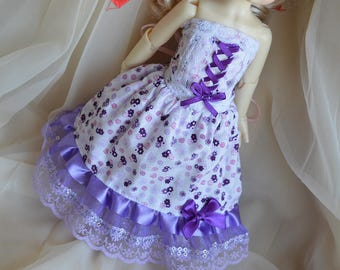 YOSD BJD 1/6 doll clothes corset and long skirt with flowers - cute lolita kawaii princess - pastel pink violet and white