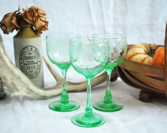 Victorian Engraved Wine Glasses
