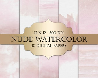Watercolor Digital Paper - nude watercolor textures, painted digital paper, ombre watercolour backgrounds scrapbooking, wedding invitations