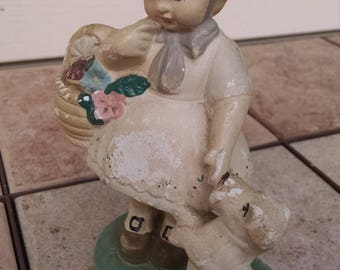 Girl and Dog Figurine /  Vintage Plaster  Figurine / Retro Figurine / Vintage Figurine / Retro Decoration / Shabby Chic Decor