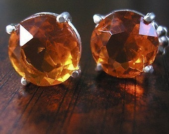 Fire Opal Orange -vintage glass earrings