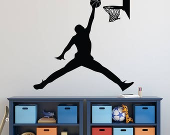 Michael Jordan Wall Decal - Basketball Wall Decal - Sports Decal - Jumpman Boys Room Wall Art - Kids Vinyl Wall Decal
