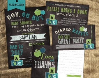 Baby Shower invitation for teachers, Teacher theme baby shower, Baby Boy Shower Kit, Chalkboard Baby Shower, Co-ed Baby Shower Invitation