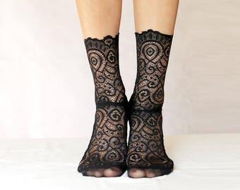 Black Lace Socks. Scalloped Edge Lace and Mesh socks. Handmade Women's Socks