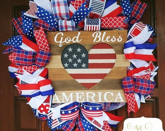 God Bless America Wreath, American Flag Wreath, Patriotic Wreath, Red White and Blue Door Decor, Stars and Stripes Wreath,
