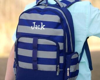 Monogrammed Backpack-- Book bag Monogrammed -- Lunch Box monogram--Stripe-- Monogrammed Bookbag and Lunch Box-- Navy Gray