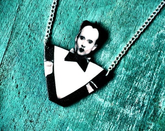 Klaus Nomi necklace goth new nu wave music jewelry black and white