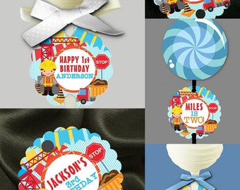 12 Cake Pop Tags, Sucker or Lollipop Tags, Construction Theme, Worker, Dump Truck, Crane, Red, Blue, Yellow, Baby Shower, Birthday Party