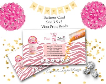 Pink Zebra Business Card Design, Pink Zebra Direct Sales business Card, Direct Sales Home Party Printable Business Card~Vista Print Ready