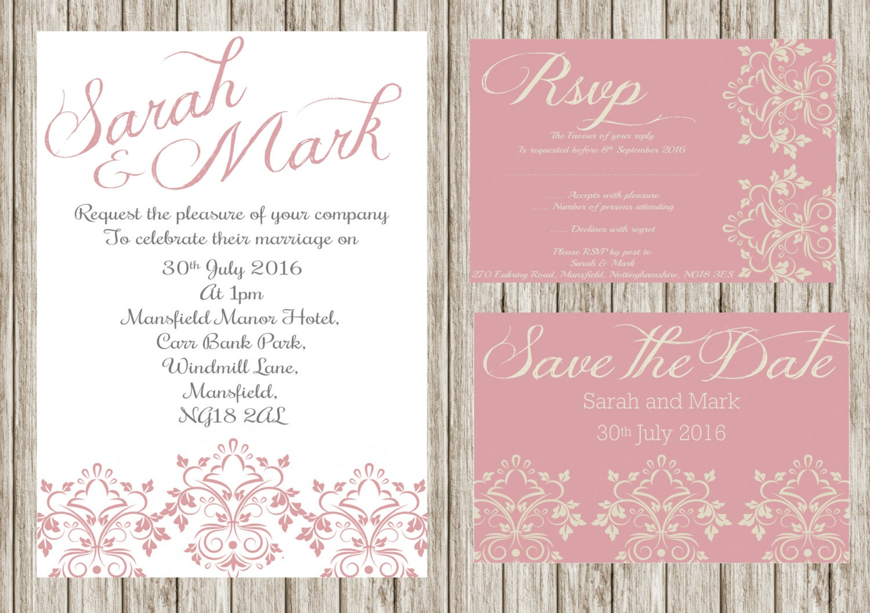 Pink damasks invitation, Printable wedding invitation set, Floral ...