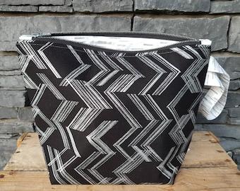 Project Bag | Knitting Bag | Knitting Project Bag | Zippered Project Bag | Wedge Bag | Shawl Knitting Bag | Silver Glitter